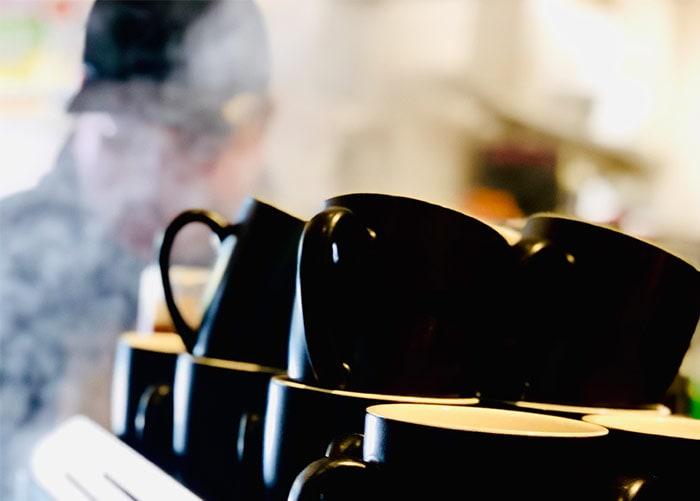 Steam in font coffee machine