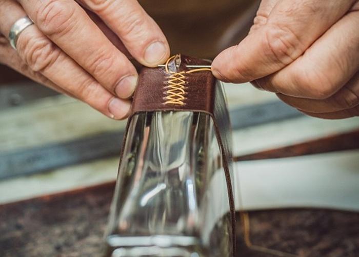 Hand Stitching Ochre leather
