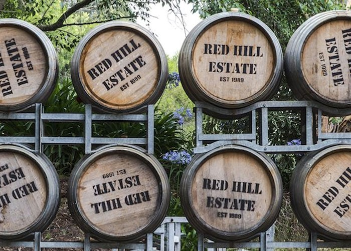 red hill estate wine barrels